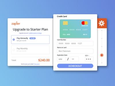 Zapier Upgrade/Payment UI Concept 002 dailyui zapier concept credit card payment ui