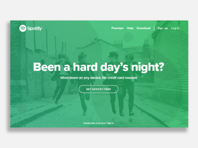 Spotify Landing Page UI minimalist web design spotify ux ui landing page 003 dailyui