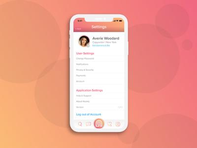 Nookly User Settings UI app development ux user settings nookly ios app settings app design settings 007 dailyui