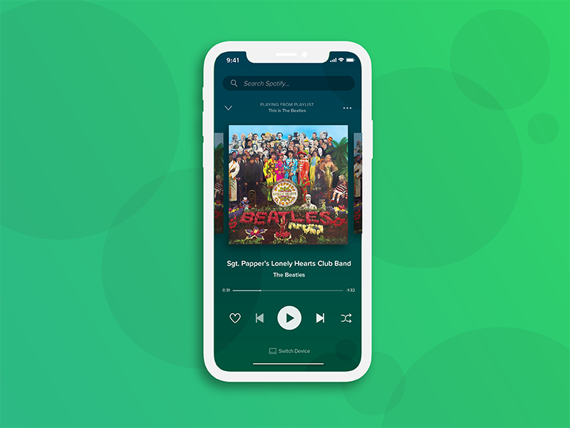 Spotify Music Player UI by Ben Paterson on Dribbble