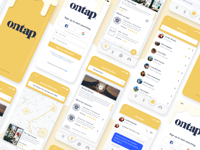 Ontap Mobile App Screens ontap app screens mobile app design mobile beer app design ios design minimalist startup ux ui