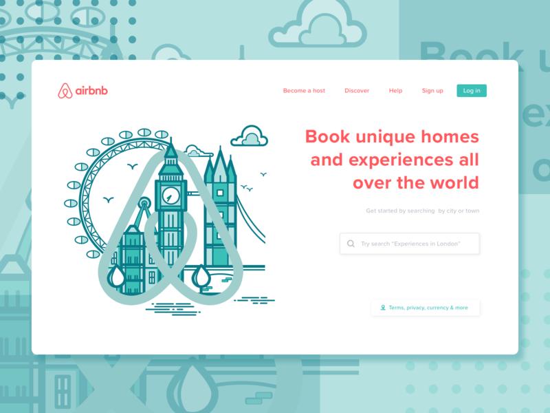 Minimalist Airbnb Landing Page uk london search app booking hotel airbnb landing page concept illustration website web design minimalist startup dailyui ux ui