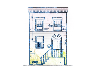 row house texture windows house east coast philly stroke illustration row house