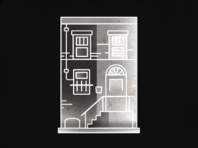 row 2 gradient texture windows house east coast philly stroke illustration row house