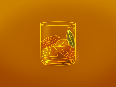 Old Fashioned gold illustration drawing whiskey