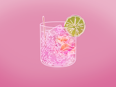 Gin & Tonic lime rose pink drawing drink tonic gin gin and tonic