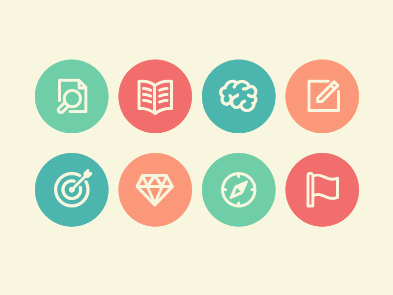 Branding Process Icons icon set iconography branding flat simple