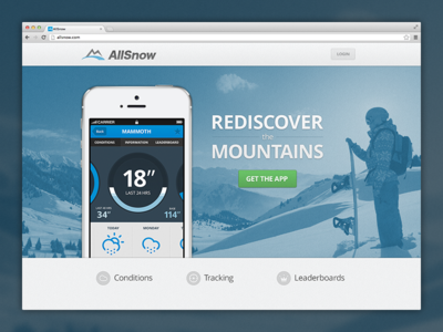 AllSnow Homepage allsnow app homepage landing page ui ux download climacons