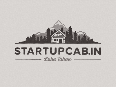 Startup Cabin   2x logo startup hand drawn cabin tahoe tree mountain branding octopus creative
