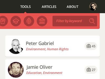 Tools Page Detail ui icons search panels navigation open sans celebrities toolbox minimal flat