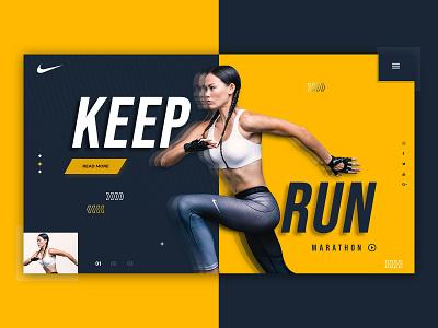 Nike = Home page herosection design slider nike running nike illustraion vector typography branding logo store online shop shop web design homepage website