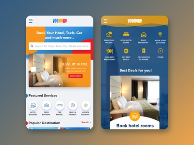 Asanogow App design ux ui offer restaurant car booking taxis hotel booking