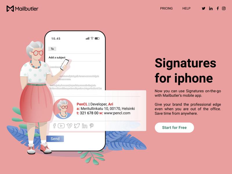 Landing page granny older lady product design signature email landing page plants mobile vector ux illustration