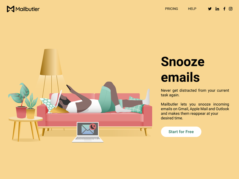 Landing page couch yellow snooze landing page productivity email vector branding ux illustration