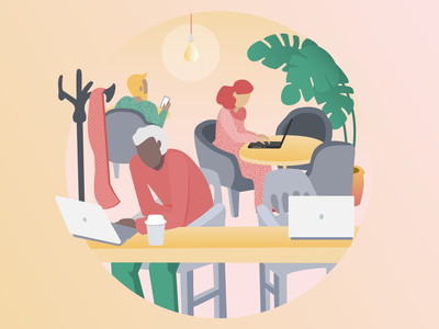 Coworking space working coworking café vector illustration