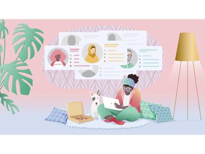Mini CRM release! branding sales visual design ux dog pizza crm email animation illustration