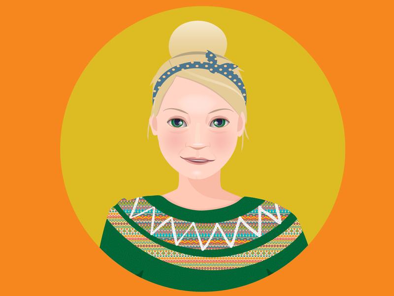 Self-portrait woman illustration