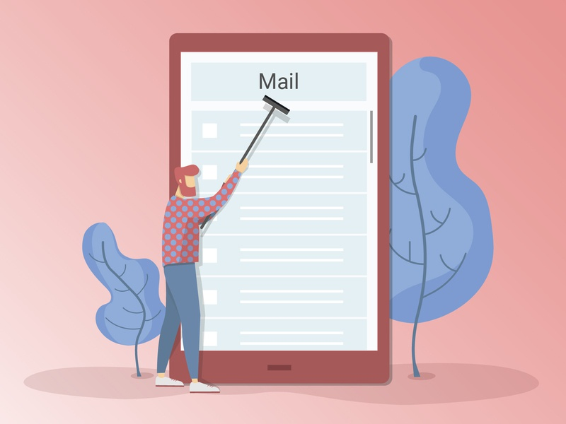 Cleaning your inbox digital mail trees cleaning ui illustration