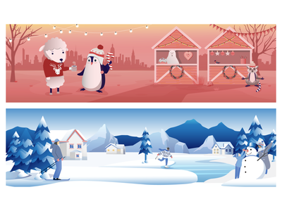 Email banners for the holidays ⛄️ email template landscape xmas christmas card winter christmas banner illustration