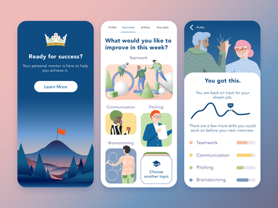 Gamification app gamification career coach success mentor vector mobile illustration ui