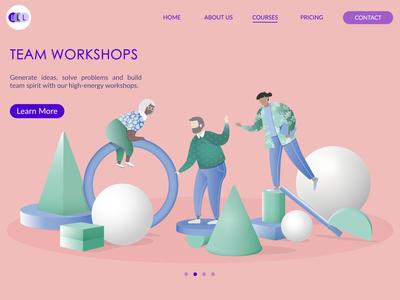 Team workshops web design team building landing page website workshop teamwork collaboration ux illustration