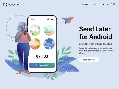 Landing page webdesign landing page productivity email plants mobile vector branding ux illustration