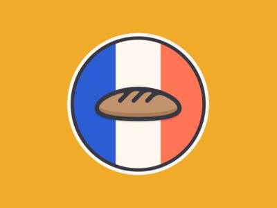 Baguette minimalism clean simple flag bread baguette france design sticker mule sticker