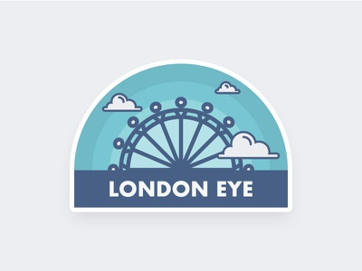 London Eye blue clouds london eye illustration england uk minimal flat sticker london