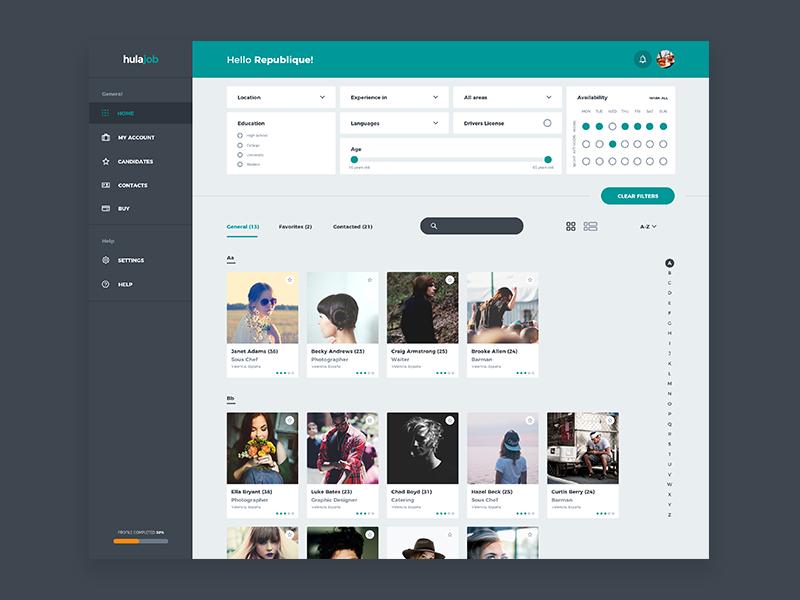 Company Dashboard search ux design profile menu grid filters users interface ui dashboard