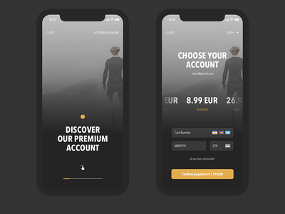 Premium Account user interface design ui dark black slider discover checkout payment premium account