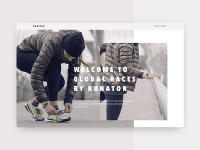 Global Races Website runner homepage concept race run ux ui interface web