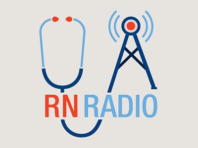 RN Radio Podcast logo nursing icons logo typography illustration