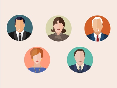 Mad Men characters illustration infographic