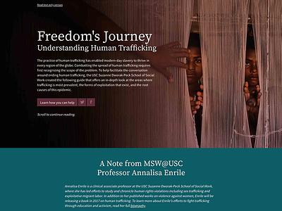 Freedoms Journey: Understanding Human Trafficking web design ux ui publication design data visualization microsite