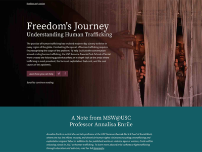 Freedoms Journey: Understanding Human Trafficking web design ux ui publication design data visualization microsite