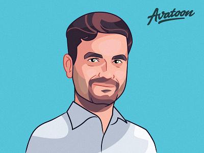 Cartoon Portrait Drawing caricature avatar illustration vectr hand character face man drawing portrait cartoon