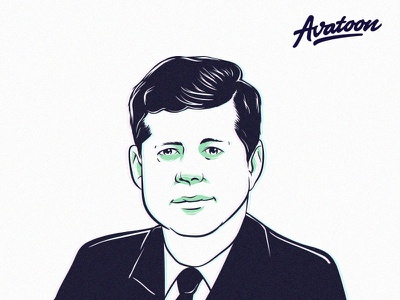 John F. Kennedy Illustration | avatoon.net avatars mascot caricature man kennedy design profile photo avatar face vector illustrator ink illustration avatoon cartoon custom
