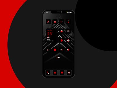 Red & Black iOS 14 icons ios app design ui design black red minimal icons ios14 ios