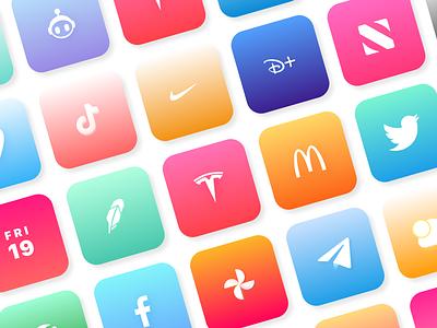 Colorful Pastel Icons pastels icons branding logo illustration ios14 iphone mockup design uidesign uiux ui