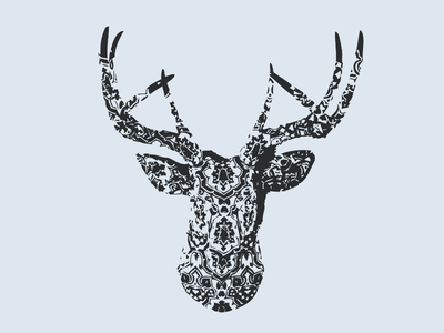 Deer bandana deer print wonderful nature animal canada wild poster rad montreal illustration