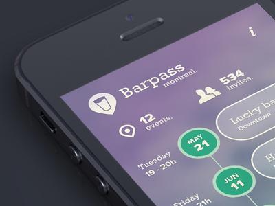 Barpass event view product ios iphone mobile timeline interface gradient event canada pass bar montreal