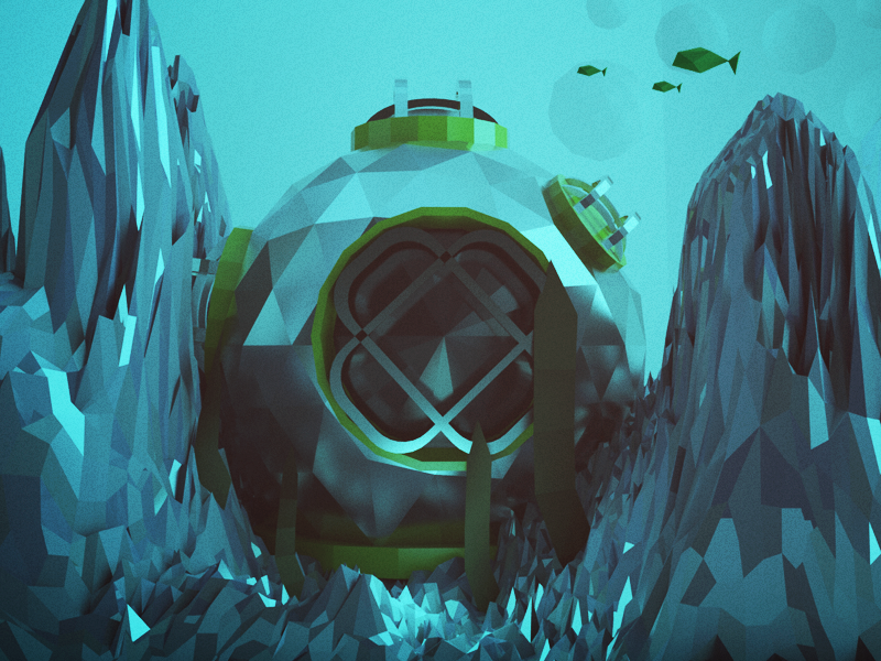 Helmet under ocean c4d under polygons 3d helmet sea low poly ocean poly cinema 4d fish water