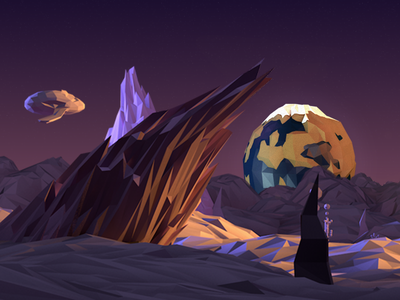 Planet lost in space poly purple planet 3d earth low poly space cinema 4d c4d galaxy rock spaceship