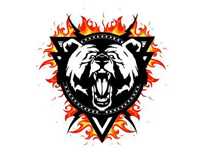 Logo design for an Alaskan Outfitter fire bear logo outfitter alaska