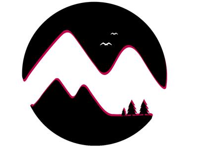Logo design for an recreation park mountain trees illustration birds design mountain pine tree minimal logo
