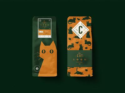 Packaging Design The Cat Room Coffee. illustration typography type design branding vector brand logo