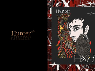 Hunter x Hunter. typography adobe ipad procreate japan drawing manga anime illustration type design branding vector brand logo
