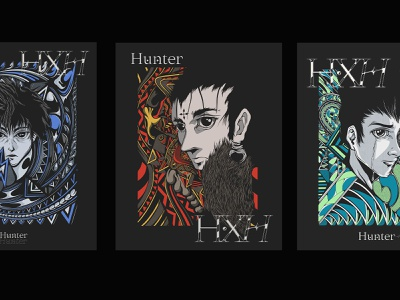 Hunter x Hunter Tribute. adobe procreate drawing collague art manga anime graphic design typography illustration type design branding vector brand logo