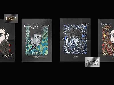 Hunter x Hunter Family Posters typography illustration type design branding vector brand logo