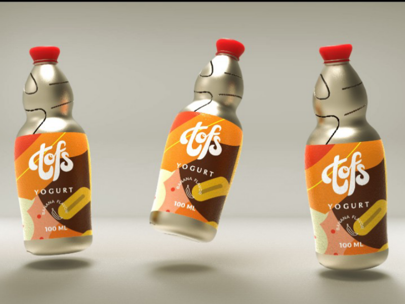 Tofs drink typography type logo hand lettering illustration keyshot design clean branding art 3d identity